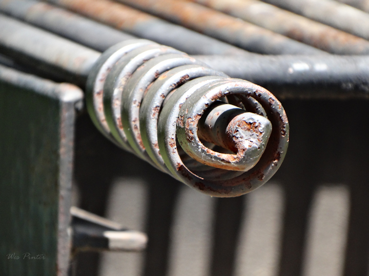 Close-up of a grill handle at Deep Creek State Park
